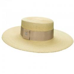 Sombrero Canotier Ala Ancha Paja de Palma- Sombreros de playa