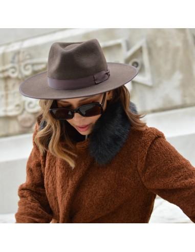 Brown Nuba Hat Wool Felt by Raceu Atelier