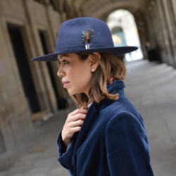 Navy Blue Salter Hat by Raceu Atelier - Fedora Wool Felt