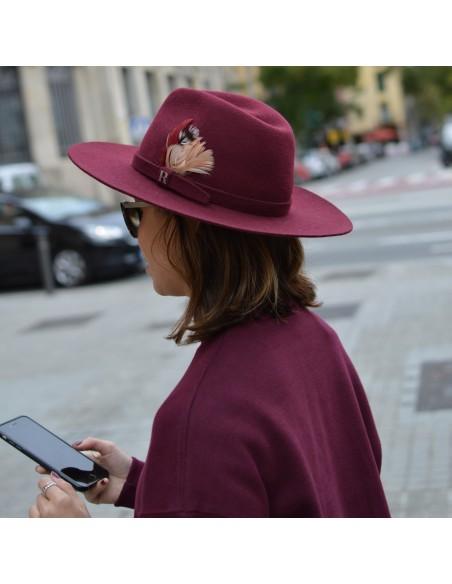 Burgundy Salter Fedora Hat for Women in Wool Felt