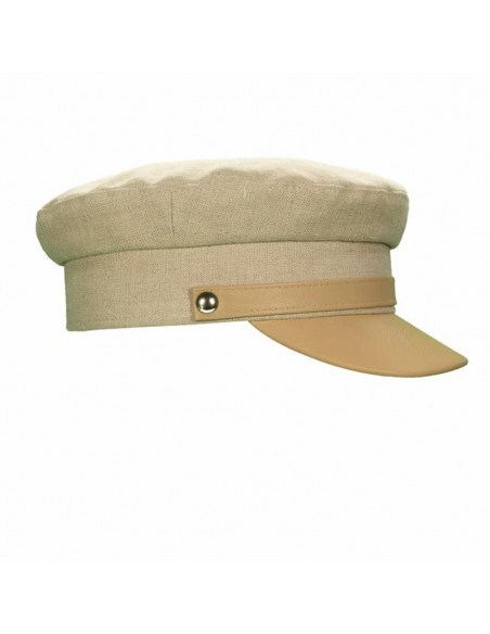 Jersey Woman Cap Linen And Leather Beige - Women's Caps