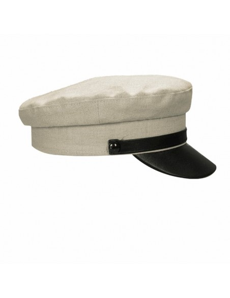 Jersey Woman Cap Linen And Leather Beige - Military Caps
