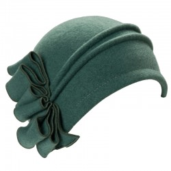 Green 20s Cloche Wool Hat...