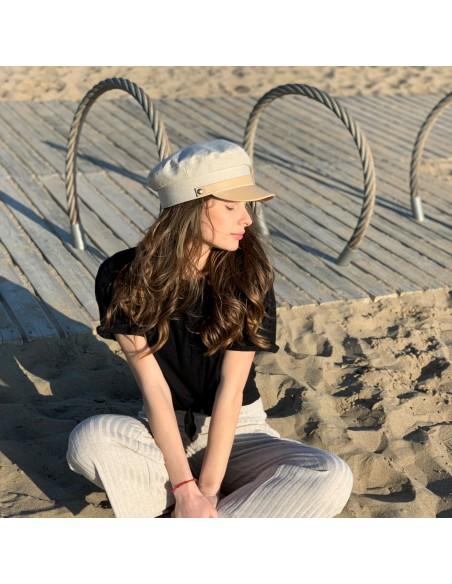 Gorra Mujer Cali en Piel y Lino color Beige - Gorras Marineras