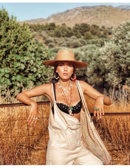 Sombrero de Palma Mejicano - Fedora Ala Ancha - Sombreros Mujer
