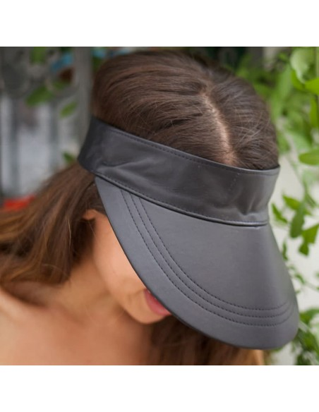 Visor Shady Leather Black - Women Visor Caps