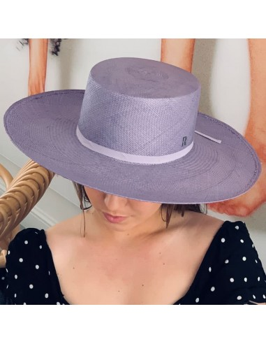 Canotier Panama Hat, in colour Lavender 100% Straw Toquilla
