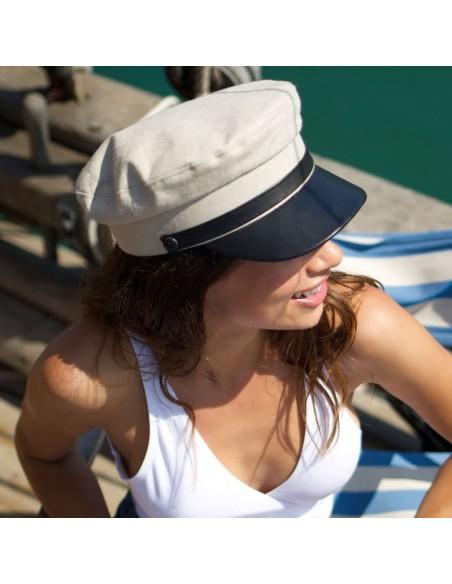 Gorra Mujer Cali en Piel y Lino color Beige - Gorras Militar Mujer