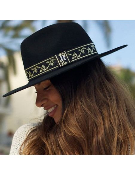 Gianni Hat in Wool Felt with Gold Ribbon - Automne-Hiver Unisex Hat
