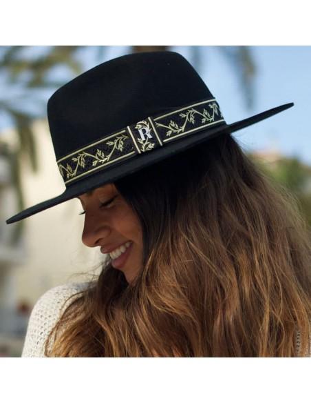 Sombrero de Fieltro de Lana con Cinta Dorada - Sombreros Mujer Otoño Invierno