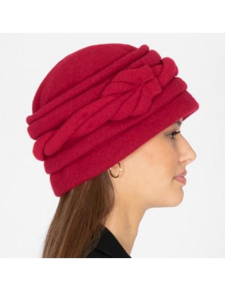 Gorro Lana Rojo Hecho a Mano - Sombrero Lana - Gorra Señora - Gorro de Lana Años '20 - Gorro Retro - Sombrero Vintage