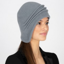 Grey Downton Abbey Cloche Hat Wool Felt Knitted Retro 1920s Style Laura - Retro Hats - Vintage Caps