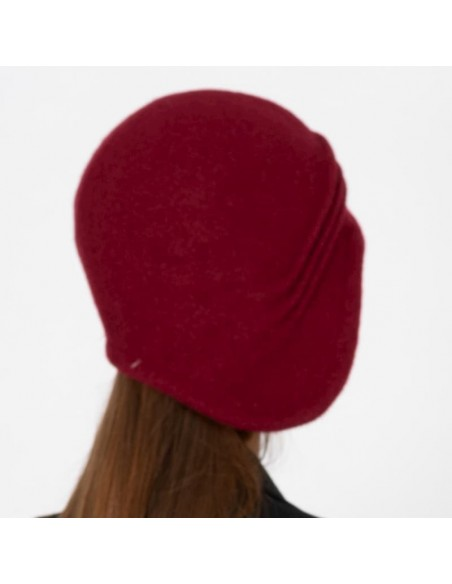 Burgundy Downton Abbey Cloche Hat Wool Felt Knitted Retro 1920s Style Laura - Retro Hats - Vintage Caps