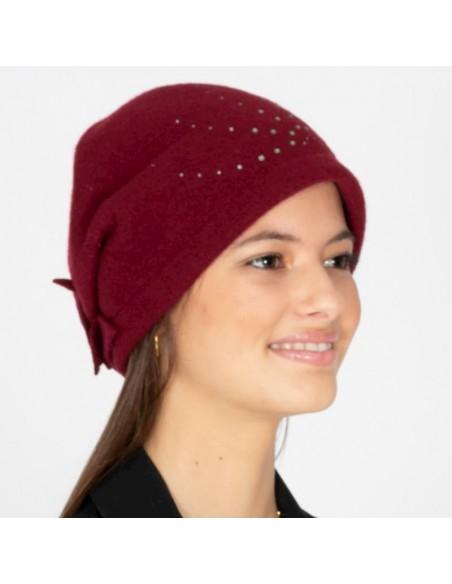 Handmade Wool Cap - Burgundy - Style Frida - Retro - Vintage