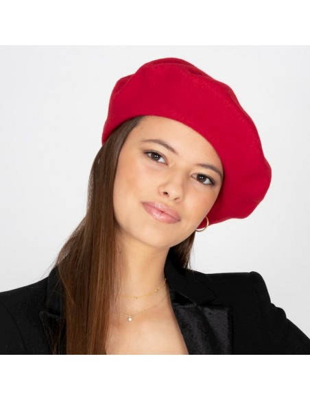 Wool Veronica Red Beret - Wool Felt