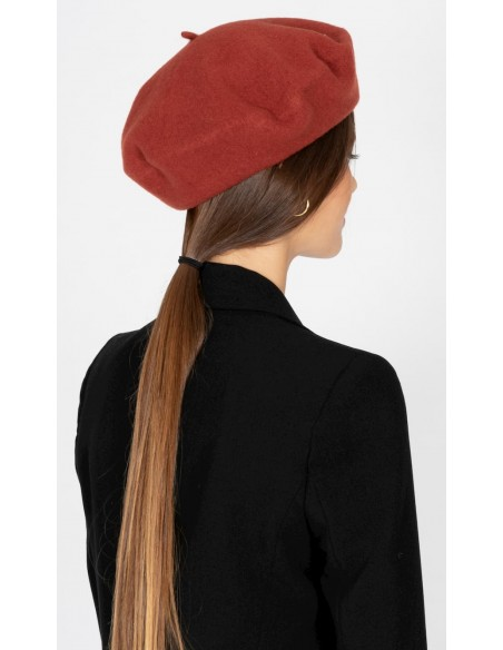 Wool Veronica Terracotta Beret - Wool Felt