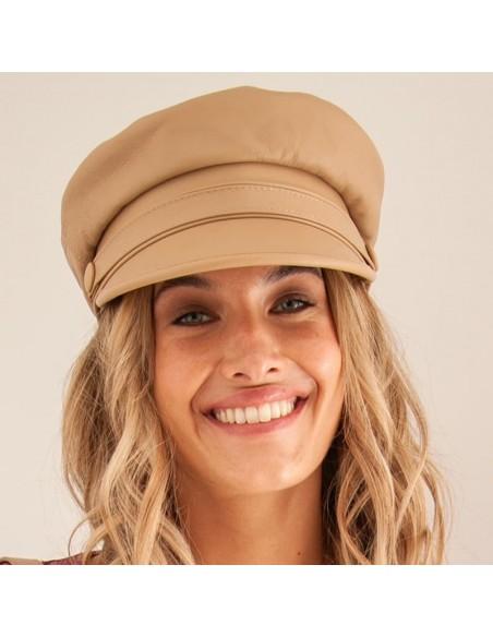 Gorra Mujer Cali en Piel color Beige - Gorras de moda