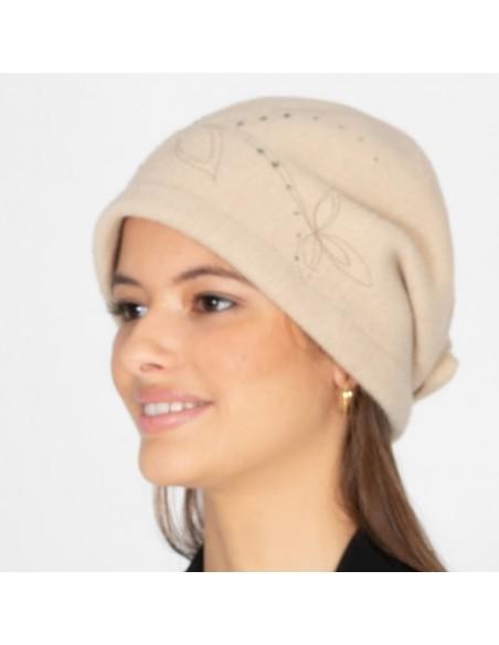 Gorro de Lana Retro Años '20 Beige - Style Inga - Sombreros Mujer Vintage