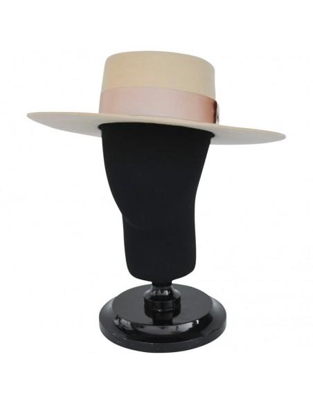 Sombrero Canotier de ala ancha en 100% Fieltro de Lana