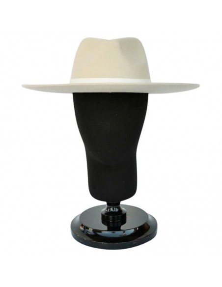 Sombrero Estilo Fedora en color crema de ala amplia