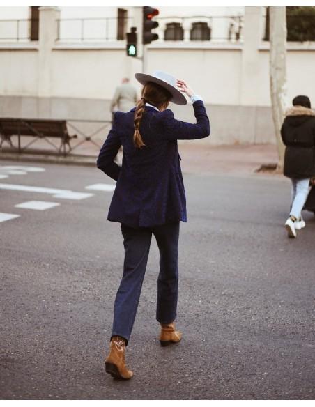 Sombrero de Fieltro de ala ancha y dura - Fedora gris claro