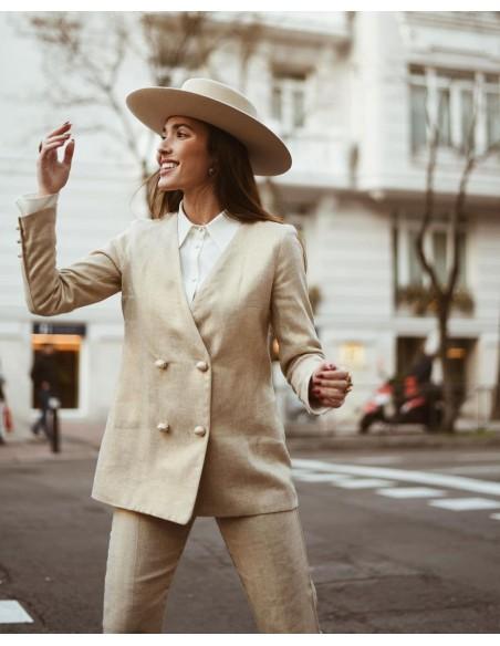 Sombrero Canotier color crema de ala ancha en Fieltro