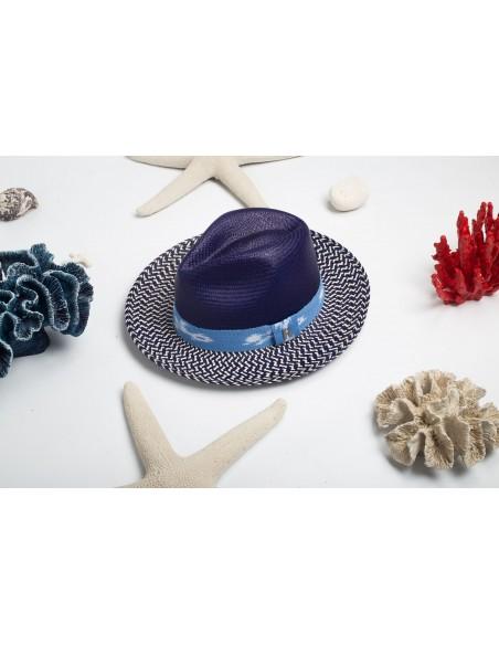 Sombrero Panama azul hecho a mano