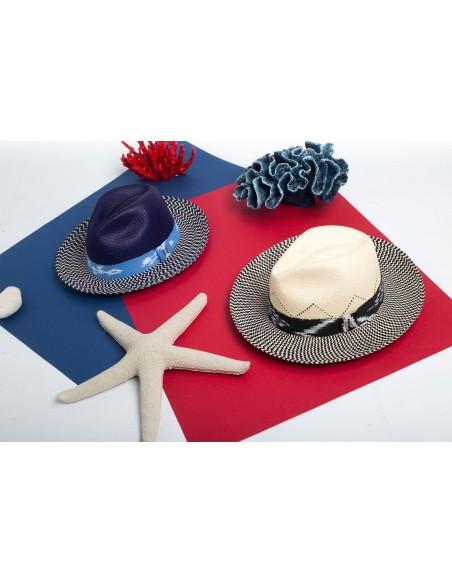 Handmade Panama hat  Blue