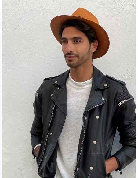 Men Panama Hat Cuenca Camel - Fedora Style