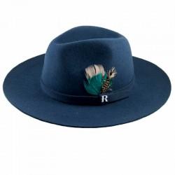 Sombrero azul marino. Fieltro de lana para hombre