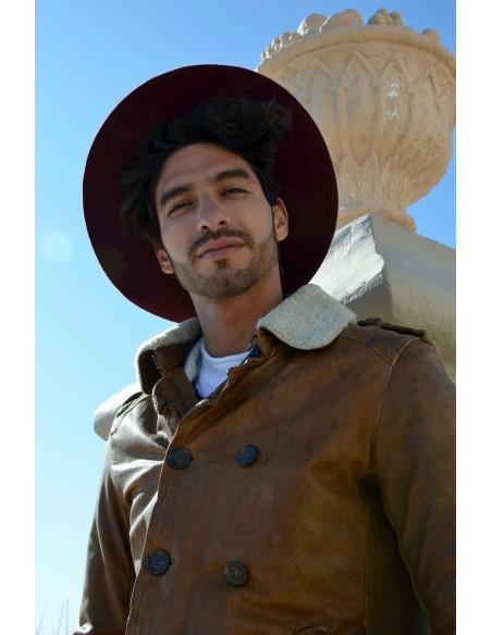 Burgundy Salter Hat - Fedora 100% Wool Felt