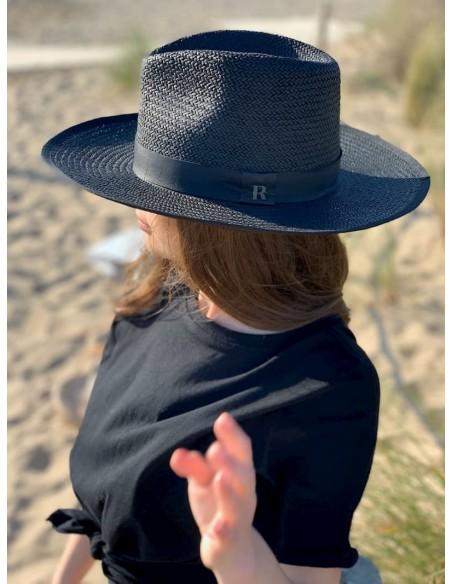 sombrero paja negro mujer