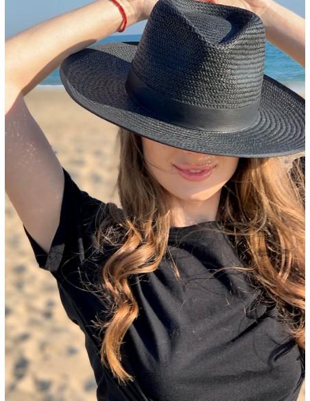 Straw Hat Florida Black - Fedora Style