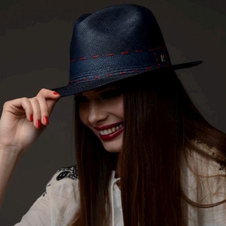 sombrero panamá azul marino mujer