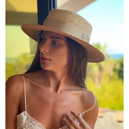 Sombrero Boater Paja Natural - Sombreros Verano Mujer