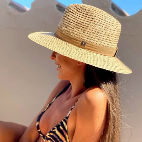 Sacramento Fedora Straw Hat - Natural straw and leather - Handmade in Spain