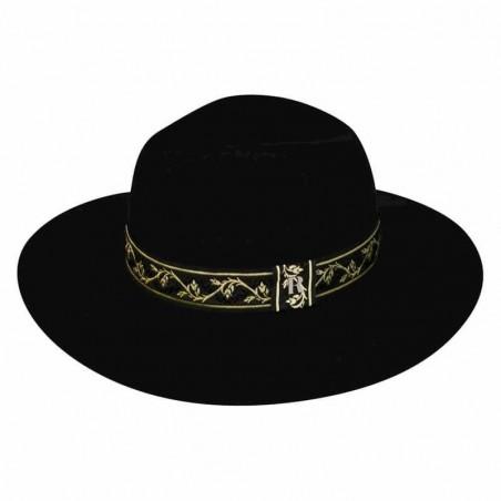 Sombrero de Fieltro de Lana con Cinta Dorada - Sombreros Mujer