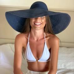 Large Brim Hat Charlotte Navy