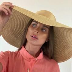 Large Brim Hat Charlotte Beige