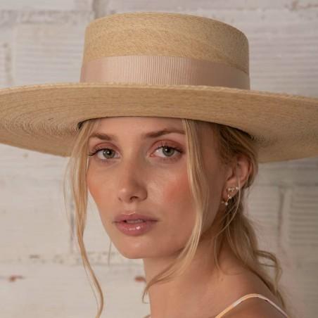 Sombrero Canotier Ala Ancha Murano Cinta Beige