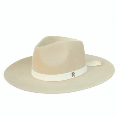 Sombrero Fedora en color crema de ala amplia