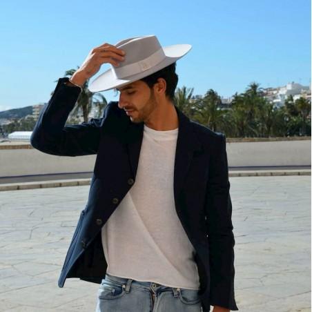 Sombrero Fedora de Ala Ancha Luna Gris Claro Hombre