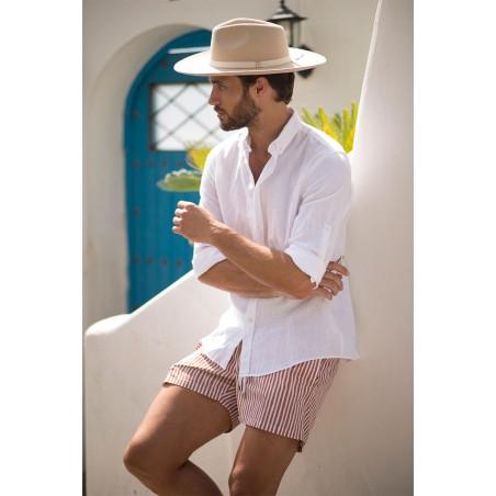 Sombrero Fedora en color crema de ala amplia para hombre