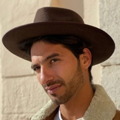 Felt brown hat for men- Nuba fedora hat