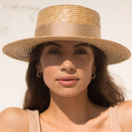 Boater Hat 100% Natural Straw - Women Summer Hats