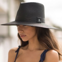 Sombrero Paja Florida Negro - Sombreros Verano - Estilo Fedora