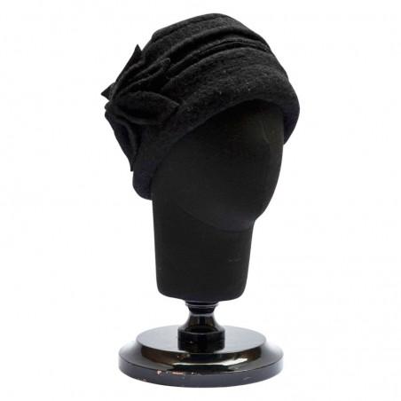 Black Vintage Boiled Wool Cloche Hat Moss