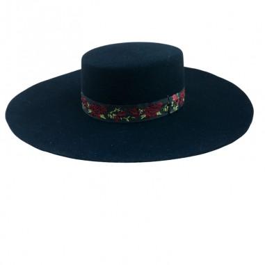 Sombrero Canotier Fieltro de Lana Toledo Ala Ancha y Rígida