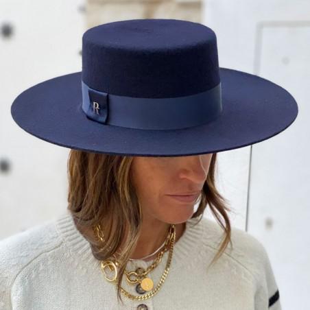 Sombrero Canotier Mujer Fieltro de Lana Hecho en España