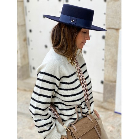Florence Wide Brim Navy Boater - Boater Hats Women's